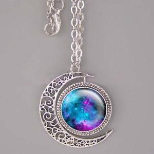 Nebula necklace Bronze/Silver moon ..
