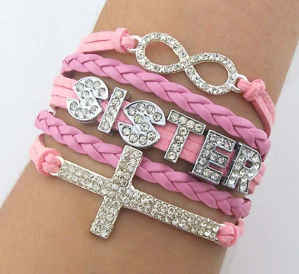 Custom Word Bracelet Rhinestone Cross Crystal Infinity Pink String Gift For Sistergirlfriend