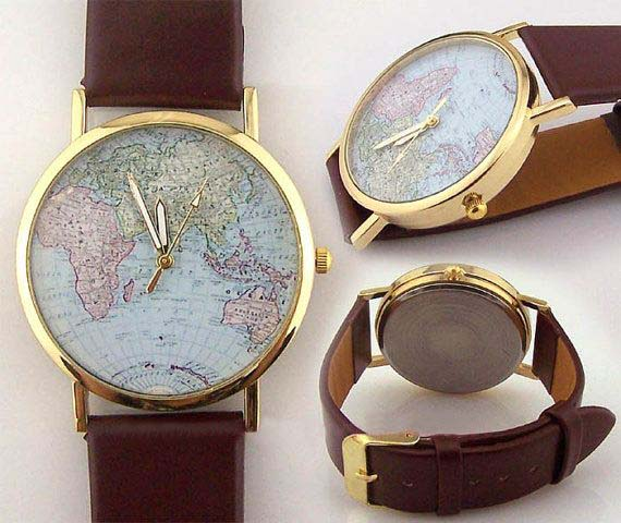 Vintage World Map Watch Map Watches Wanderlust Watch,Brown Leather Watch  Women Bracelet Man Jewelry Friendship Gift Christmas Halloween Cuff  Birthday ...
