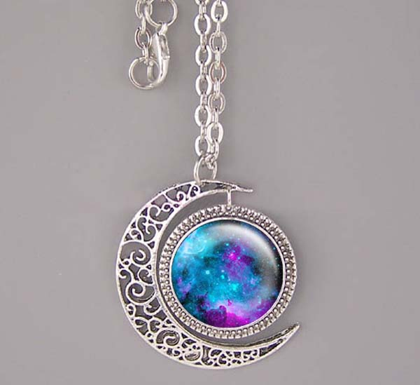 Nebula necklace Bronze/Silver moon charm jewelry Nebula pendant galaxy Resin Pendant Hubble Space,NEBULA Pendant Galaxy Necklace Turquoise White Jewelry Necklace,Wholesale or retail.