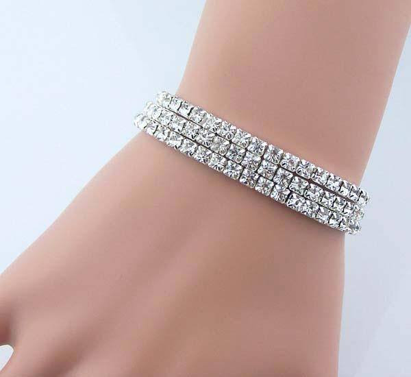 3 Sets Of Shining Rhinestone Bracelet Crystal Bridesmaids Wedding Jewelry Birthday Evening Party Artificial Diamond